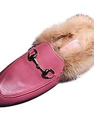 Недорогие -Жен. Обувь Полиуретан Осень Удобная обувь Башмаки и босоножки Круглый носок для Повседневные Черный Розовый Вино