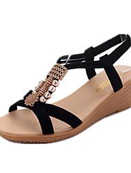 Femme Chaussures Polyuréthane Printemps Confort Sandales Talon Plat Bout ouvert Rivet Pour Décontracté Blanc Noir Rose Pale