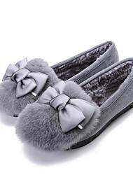 Feminino Sapatos Pele Nobuck Outono Conforto Mocassim Mocassins e Slip-Ons Para Casual Preto Cinzento
