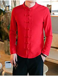 メンズ カジュアル/普段着 シャツ,ストリートファッション スタンド ソリッド コットン 長袖