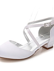 cheap -Girls' Shoes Silk Spring Fall Tiny Heels for Teens Flower Girl Shoes Ankle Strap Ballerina Comfort Heels Rhinestone Buckle Lace-up for