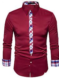 メンズ その他 シャツ,ストリートファッション シャツカラー ソリッド ポリエステル 長袖