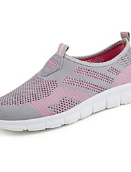 cheap -Women's Shoes Tulle Spring Fall Light Soles Athletic Shoes Walking Shoes Flat Heel Round Toe for Athletic Gray Red