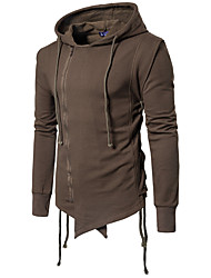 cheap -Men's Plus Size Cotton Jacket - Solid Colored, Pure Color Hooded