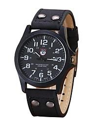 baratos -Homens Relógio Casual Relógio Esportivo Relógio de Moda Chinês Quartzo Cronógrafo Couro Banda Casual Elegant Natal Preta Azul Marrom Cáqui