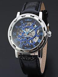 Недорогие -Муж. Нарядные часы Наручные часы Китайский Механические, с ручным заводом С гравировкой Кожа Группа Винтаж Elegant Черный