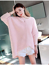 cheap -Women's Cotton Regular Pullover,Solid V Neck Long Sleeves Wool Cotton Acrylic Winter Thick Stretchy