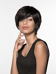 cheap -Women Human Hair Capless Wigs Beige Blonde//Bleach Blonde Medium Auburn Black Short Straight Side Part