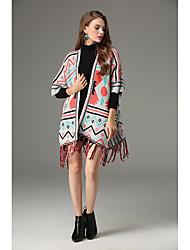Standard Cloak / Capes Da donna-Casual Monocolore Dolcevita Manica lunga Cotone Inverno Spesso Media elasticità