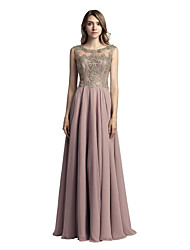 cheap -A-Line Jewel Neck Floor Length Chiffon Prom Formal Evening Dress with Beading Appliques by Sarahbridal