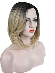 cheap -Synthetic Lace Front Wig Straight Bob Haircut Dark Roots Ombre Hair Blonde Women's L Part Celebrity Wig Natural Wigs Medium Synthetic Hair