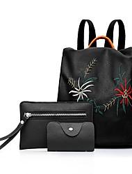 Недорогие -Жен. Мешки PU рюкзак Вышивка Черный