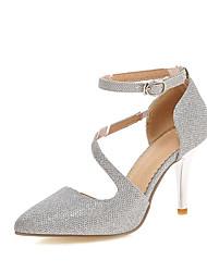baratos -Mulheres Sapatos Courino Primavera / Verão Conforto Saltos Caminhada Salto Agulha Dedo Apontado Presilha Dourado / Prata / Casamento