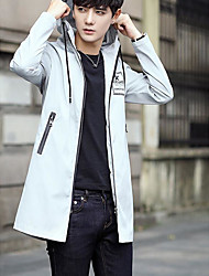 Men's Sports & Outdoor Holiday Simple Casual Winter Trench coat,Solid Hooded Long Sleeves Long Polyester
