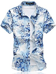 cheap -Men's Daily Plus Size Sexy Chinoiserie Summer Shirt,Floral Square Neck Short Sleeves Cotton Polyester Medium