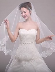 cheap -One-tier Modern Style Bridal Princess Simple Style Wedding Modern/Contemporary Wedding Veil Elbow Veils 53 Appliques Tulle