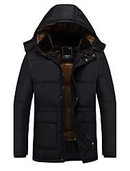 Пальто Простой Богемный Уличный стиль Обычная На подкладке Для мужчин,Однотонный На каждый день Большие размеры Хлопок Полиэстер Длинный