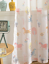 cheap -Grommet Top Double Pleat Pencil Pleat Curtain Kids and Teen Wildlife Kids Room Cotton Material Sheer Curtains Shades Home Decoration