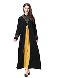cheap -Women's Party Casual/Daily Simple Abaya Jalabiyah Kaftan Dress,Patchwork Stand Midi Long Sleeve Wool Polyester All Season Mid Rise