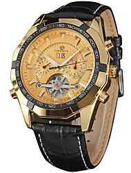 preiswerte -FORSINING Herrn Armbanduhren für den Alltag Modeuhr Armbanduhr Automatikaufzug Kalender Leder Band Freizeit Cool