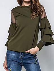 cheap -Women's Party Going out Street chic Spring Fall Blouse,Solid Round Neck Long Sleeves Cotton Polyester Medium