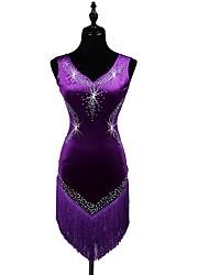 economico -dovremo ballare latino vestiti sleeveless delle nappe (s) delle donne dei spandex dei cristalli / strass di prestazione delle donne