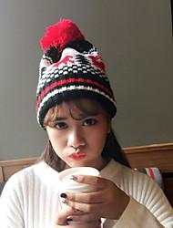 Для женщин Винтаж На каждый день Широкополая шляпа,Зима Вязанная Северный олень Трикотаж