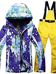 Women's Ski Jacket with Pants Warm Waterproof Windproof Wearable Breathability Ski / Snowboard Snowboarding Ski Cotton Eco-friendly