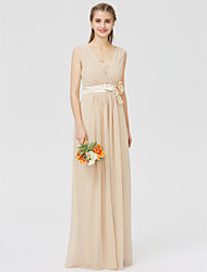 cheap -Sheath / Column V Neck Floor Length Chiffon Bridesmaid Dress with Sash / Ribbon Pleats Flower by LAN TING BRIDE®