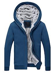 preiswerte -Herrn Solide Lässig/Alltäglich Ausgehen Einfach Hoodie-Jacke Kurz Langarm Baumwolle