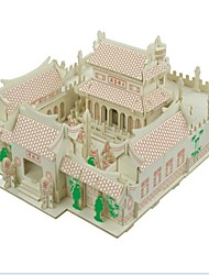 cheap -3D Puzzles Jigsaw Puzzle Logic & Puzzle Toys Wood Model Model Building Kits Toys House 3D Shaolin Temple Houses Fashion Kids Hot Sale