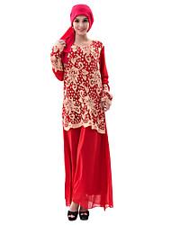 abordables -Femme Kaftan Robe - Dentelle Mince, Couleur Pleine Creux Taille haute Maxi
