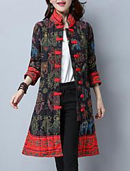 economico -Lungo Parka Da donna,Cappotto Casual Cotone Con stampe Cotone Manica lunga
