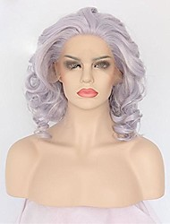 Short Curly Bob Wigs For Women Purple Lace Front Wigs Glueless Synthetic Wig Women's Heat Resistant Fiber Hair Half Hand Tied