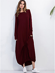 Women's Casual/Daily Simple Kaftan Dress,Solid Round Neck Maxi Long Sleeves Cotton Summer Mid Rise Inelastic Thin