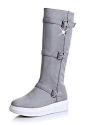 Women's Shoes Nubuck leather Fall Winter Snow Boots Fashion Boots Combat Boots Boots Round Toe Knee High Boots Imitation Pearl Buckle For