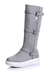 baratos -Feminino Sapatos Pele Nobuck Outono Inverno Botas de Neve Botas da Moda Coturnos Botas Ponta Redonda Botas Cano Alto Pérolas Sintéticas