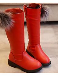 Девочки обувь Дерматин Осень Зима Удобная обувь Армейские ботинки Ботинки Назначение Повседневные Черный Красный Вино