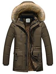 preiswerte -Herren Gefüttert Mantel,Lang Einfach Ausgehen Lässig/Alltäglich Solide-Baumwolle Acryl Polyester Langarm