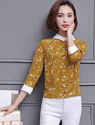 cheap -Women's Daily Street chic Shirt,Floral Shirt Collar ¾ Sleeve Polyester