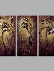 Недорогие -Ручная роспись Цветочные мотивы/ботанический Горизонтальная, Modern холст Hang-роспись маслом Украшение дома 3 панели