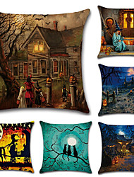 cheap -Set Of 6 Halloween Old Mansion Pumpkin Pattern Pillow Cover Vintage 45*45Cm Pillow Case Creative Sofa Cushion Cover