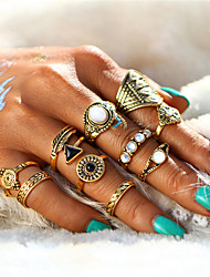 cheap -Women's Crystal Rings Set - Alloy Leaf, Flower Vintage, Sweet, Elegant One Size Gold / Silver For Wedding / Party / Halloween