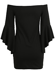 cheap -Women's Club Skinny Sheath Dress - Solid Colored Low Rise Mini Off Shoulder