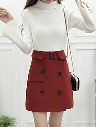 preiswerte -Damen Einfach Lässig/Alltäglich Mini Röcke einfarbig Herbst