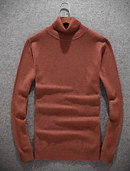 cheap -Men's Daily Going out Casual Short Pullover,Solid Turtleneck Long Sleeves Wool Winter Fall/Autumn Medium Stretchy
