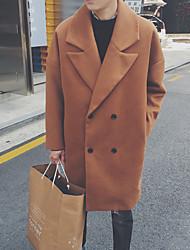 Недорогие -Для мужчин Повседневные Зима Осень Пальто V-образный вырез,Уличный стиль Однотонный Длинная Длинный рукав,Шерсть Полиэстер
