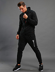 cheap -Men's Tracksuit - Black Sports Dots Hoodie Walking, Running Long Sleeve Activewear Thermal / Warm, Breathable Stretchy