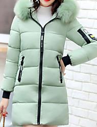 Dámské Dlouhý kabát Jednoduchý Běžné/Denní Jít Jednobarevné Tisk-Kabát Bavlna Dlouhý rukáv