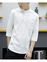 cheap -Men's Going out Street chic Shirt,Solid Shirt Collar Long Sleeves Linen